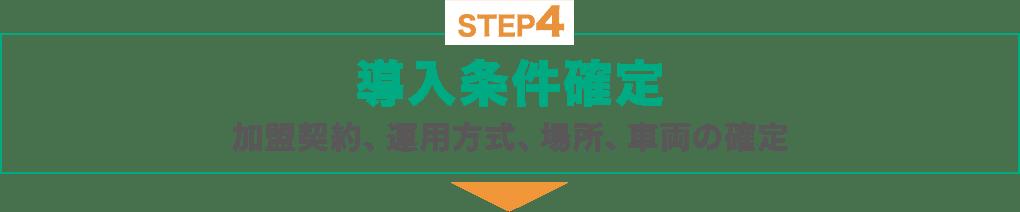 STEP4 : 導入条件確定:加盟契約、運用方式、場所、車両の確定