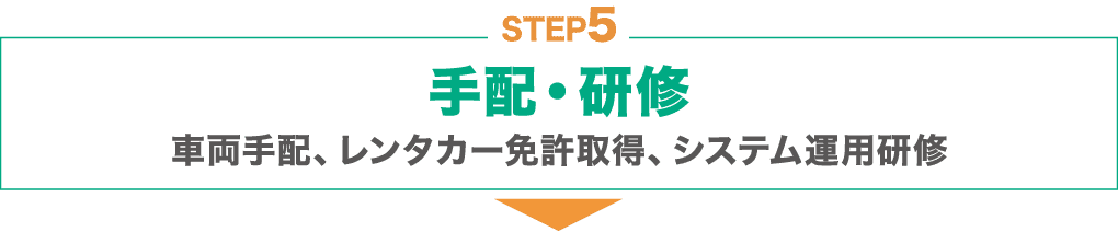 STEP5 : 手配・研修:車両手配、レンタカー免許取得、システム運用研修