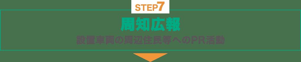 STEP7 : 周知広報:設置車両の周辺住民等へのPR活動(適正数の会員獲得)